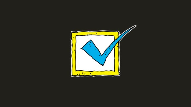 hand drawn black Background animation of check mark