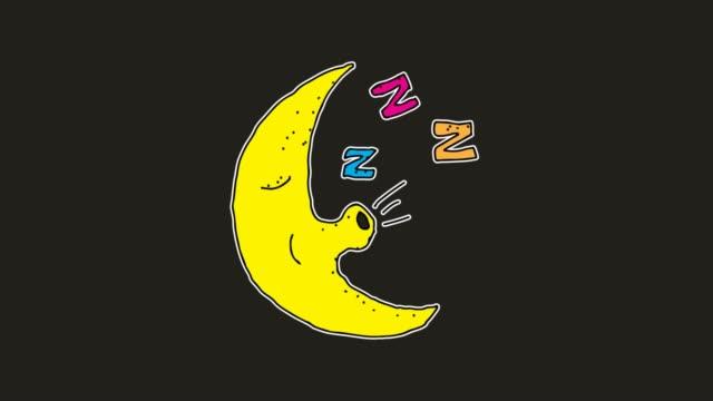 stockvideo's en b-roll-footage met hand getekende zwarte achtergrond animatie van slapende maan karakter - sleeping illustration