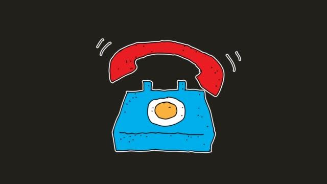 hand drawn black Background animation of telephone ringing