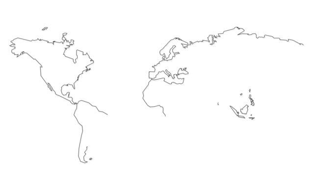 handgezeichnete leere weltkarte isoliert auf weißem hintergrund moderne abstrakte geschäftskonzept - europa kontinent stock-videos und b-roll-filmmaterial