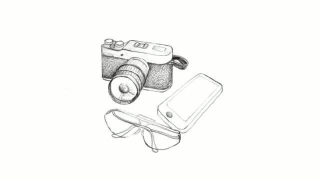 Hand Drawn Camera and Glasses with Smart Phone Video Clip video