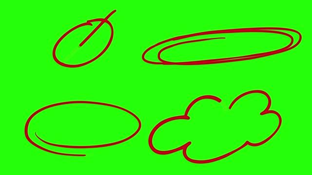 hand drawn circle on green screen