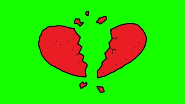 stockvideo's en b-roll-footage met hand getekende groene achtergrond animatie van gebroken hart - doodles