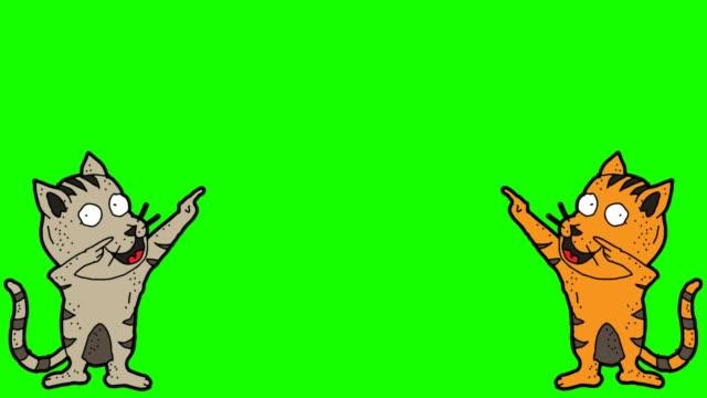 handritad grön bakgrunds animering av katt tecken och tomt utrymme - animal doodle bildbanksvideor och videomaterial från bakom kulisserna