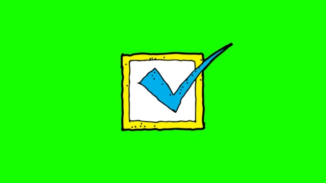 hand drawn green Background animation of check mark
