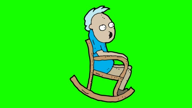 hand drawn green Background animation of grandfather and rocking chair hand drawn animation for grandfather and rocking chair rocking chair stock videos & royalty-free footage