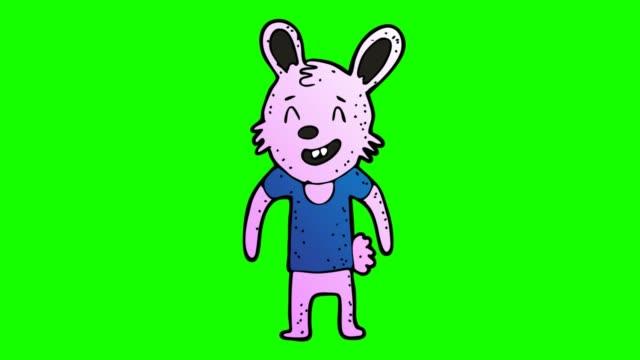 hand dras grön bakgrund animation av kanin tecken förklaras - animal doodle bildbanksvideor och videomaterial från bakom kulisserna