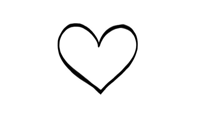 hand drawn heart on a white background, frame by frame doodle animation - doodles filmów i materiałów b-roll