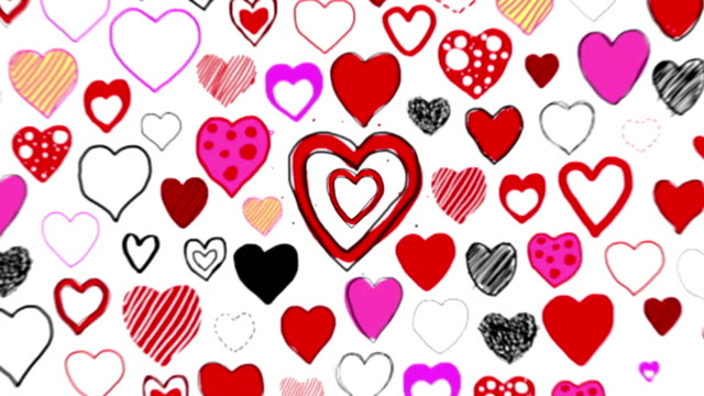 Hand Drawn Hearts - Camera Zoom Through (Loopable) video