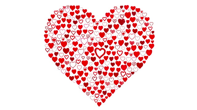 hand drawn hearts - large heart reveal red - valentines day stock videos and b-roll footage