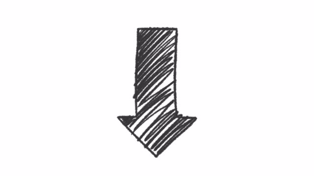 Hand drawn ink arrow points down, animation with alpha channel, motion graphics.