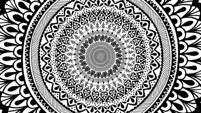 Hand drawn mandala tunnel Endless zoom into a hand drawn mandala, looped animation hippie stock videos & royalty-free footage