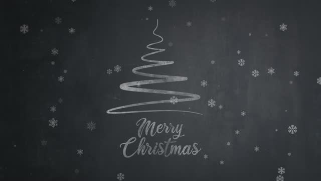 Hand drawn Merry Christmas text with christmas tree on chalkboard