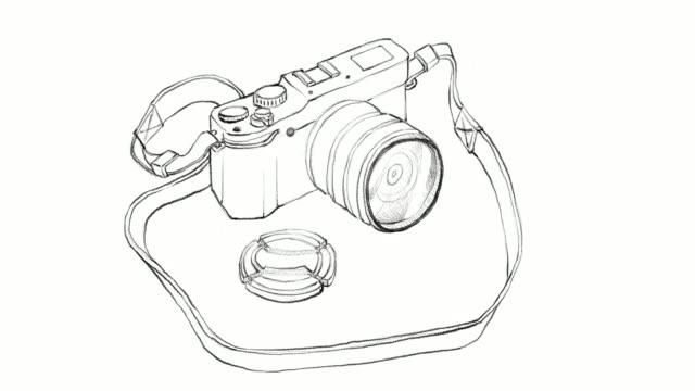 Hand Drawn of Digital Camera Video Clip video