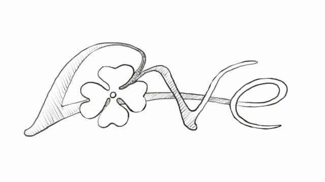 Hand Drawn of Four Leaf Clovers With Love Sign video