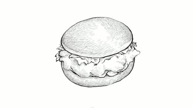 손으로 그린 프라이드 치킨 버거 비디오 클립의 - burger and chicken 스톡 비디오 및 b-롤 화면