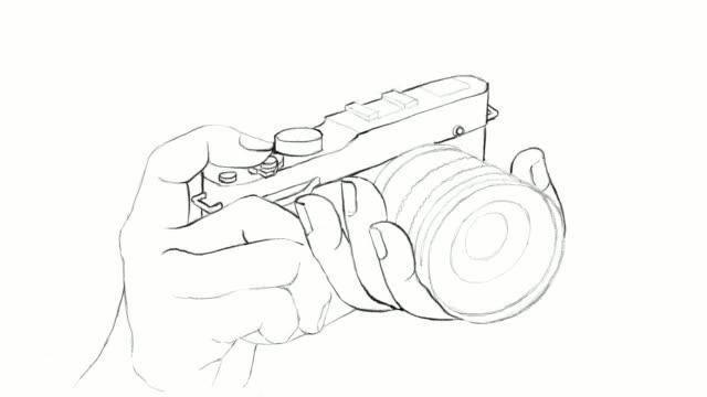 Hand Drawn of Photographer Holding Camera Video Clip video