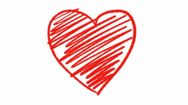 vidéos et rushes de animation de coeur rouge dessiné à la main avec canal alpha, graphiques de mouvement. - coeur