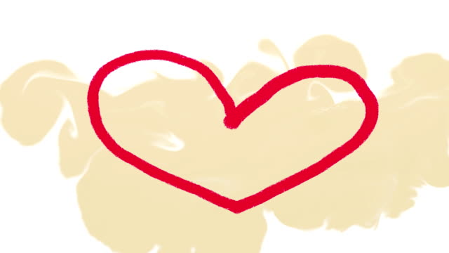 Hand drawn red heart on beige background video