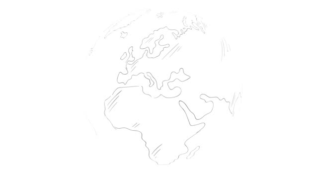 vidéos et rushes de tiré de main animation rotation de terre - boucle parfaite - contour