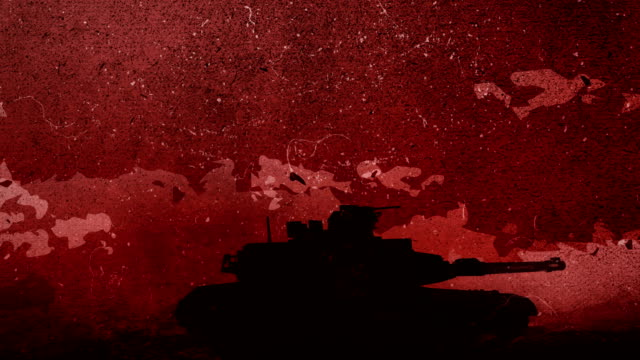 Hand drawn silhouette of a War Tank is moving across to the rough battlefield in front of the red sky, dawn with the moving clouds Hand Drawing animation 4K Looped video