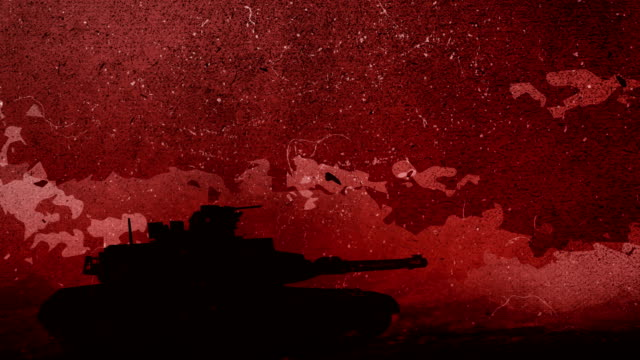 Hand drawn silhouette of a War Tank is moving in the rough battlefield, slow downs and stops in the centre of the screen for a while in front of the red sky, dawn with the moving clouds Hand Drawing animation 4K Looped video