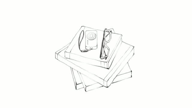 Hand Drawn Stack of Books with Camera and Glasses video