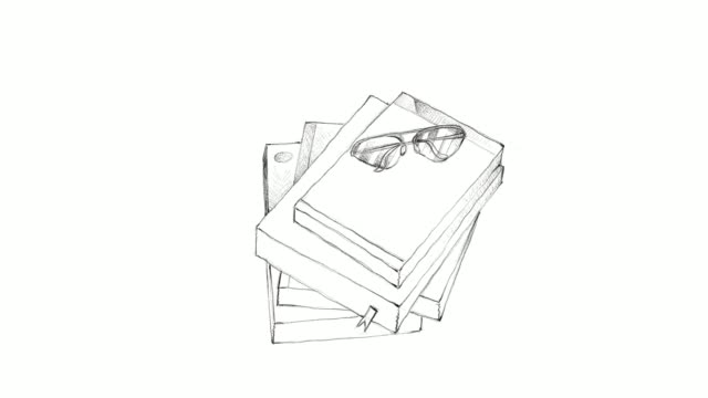 Hand Drawn Stack of Books with Glasses Video Clip video