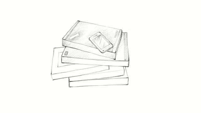 Hand Drawn Stack of Books with Smart Phone Video Clip video