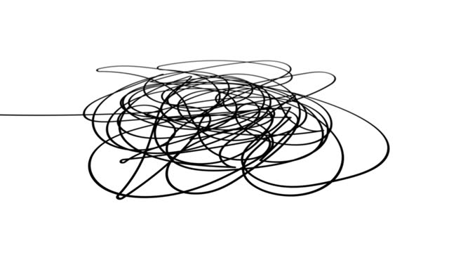 Hand drawn tangle scrawl sketch or black line spherical abstract scribble shape.