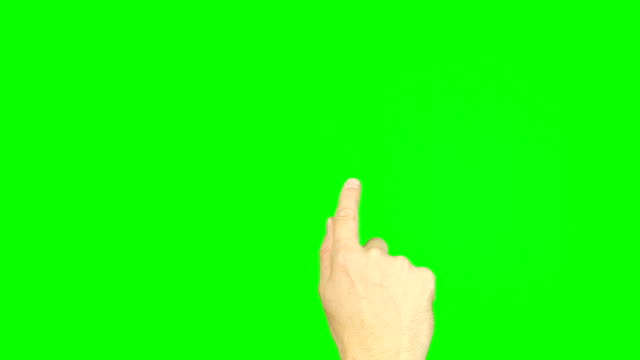 Hand drawn wave or write letter finger on green screen touchscreen. Gestures on touch pad touchscreen tablet smartphone kinetics gadget. Footage contains solid green instead alpha channel easy keying. video