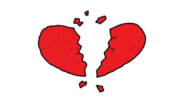 animazione di sfondo bianco disegnata a mano di cuore spezzato - divorce video stock e b–roll