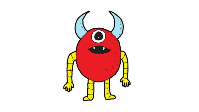 hand drawn white background animation of monster - potwór filmów i materiałów b-roll