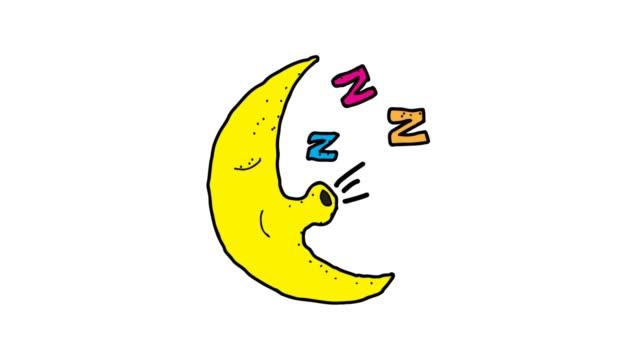 stockvideo's en b-roll-footage met hand getekende witte achtergrond animatie van slapende maan karakter - sleeping illustration