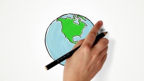 vídeos y material grabado en eventos de stock de mano de premios globo de tierra y vueltas - dibujo