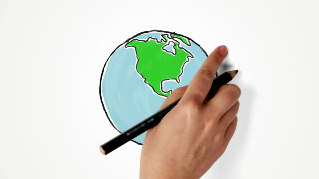 hand draws and turns earth globe - world map stock videos & royalty-free footage