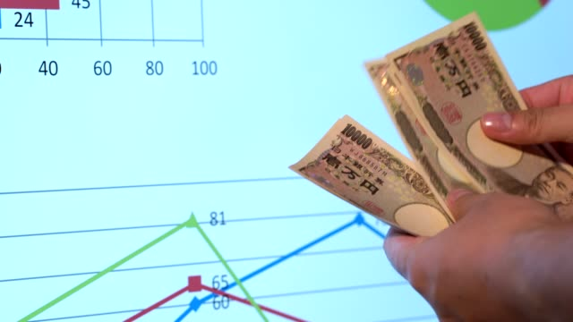 4K Hand hold a Japanese currency, data white background, a copy space, Count a money