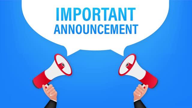 stockvideo's en b-roll-footage met hand holding megaphone met belangrijke aankondiging. megafoon banner. webontwerp. stock illustratie. - aankondigingsbericht