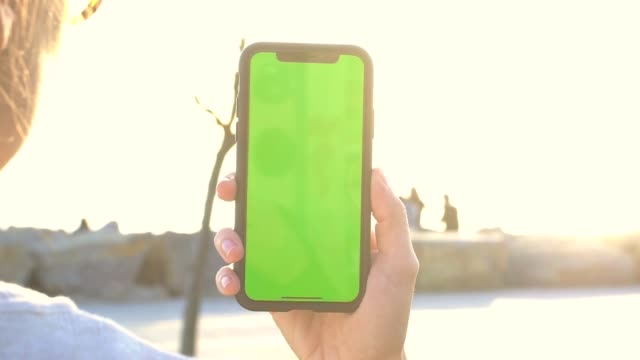 vídeos de stock, filmes e b-roll de mão segurando o telefone móvel no parque, com tela verde - clipe