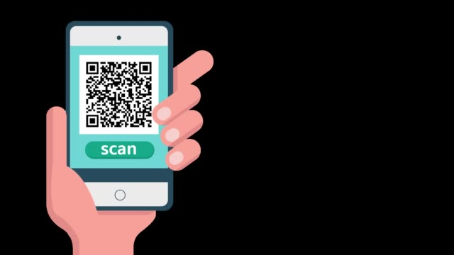 hand hält telefon und klicken sie auf scannen qr code mit alpha-kanalbewegung. animation der technologie smart scan-konzept - strichkodeleser stock-videos und b-roll-filmmaterial