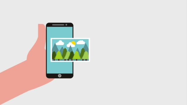hand holding phone with landscape nature photos