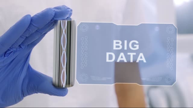 Hand in glove with hologram Big Data