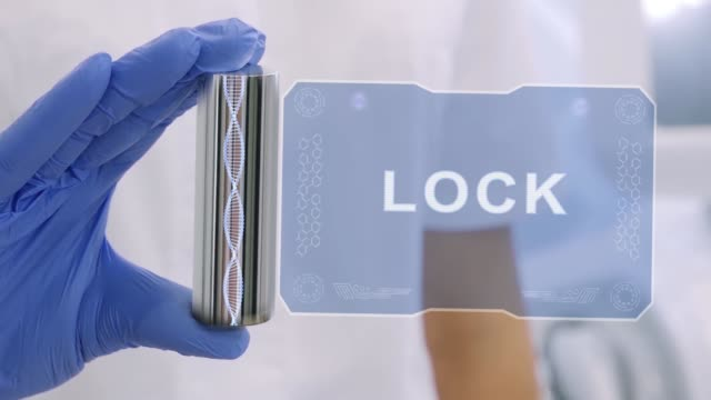 Hand in glove with hologram Lock