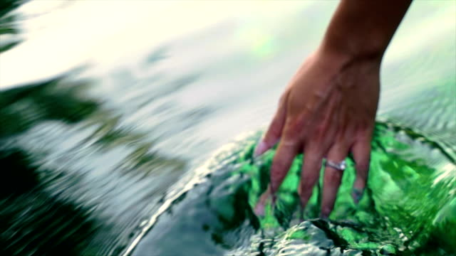 hand in the pure,clean water video