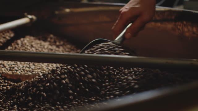 hand des arbeiters mischen kaffeebohnen in maschinell - geröstete kaffeebohne stock-videos und b-roll-filmmaterial