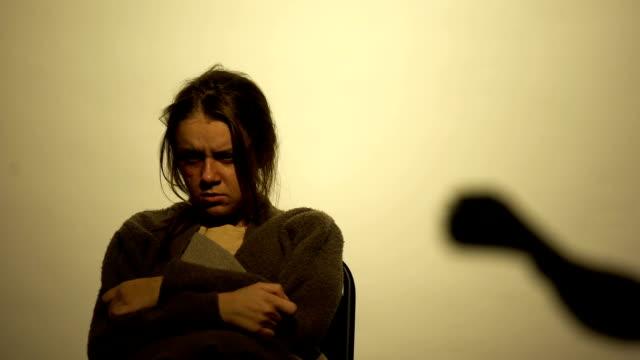 vídeos y material grabado en eventos de stock de mano con dinero de la mujer, víctima de la prostitución, problema de tráfico humano - human trafficking