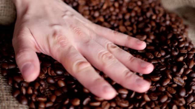 hand on coffee beans video