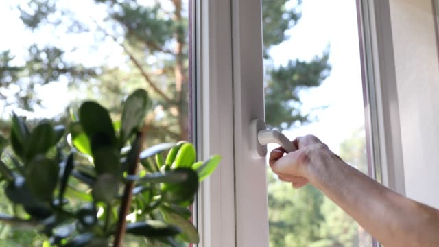 hand open plastic pvc window video