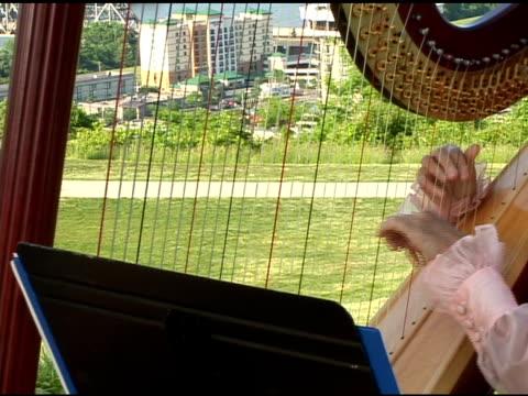 Hand playing the Harp