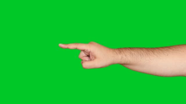 4K hand pointing on chroma key